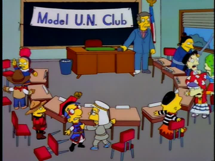 You leave tomorrow for the statewide Model U.N., so this is out last chance  to bone up. And bone we will! : TheSimpsons